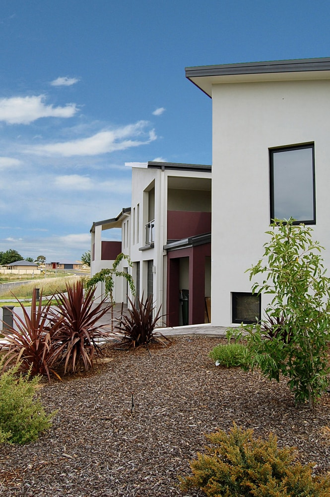 Architecture Republic designed rendered townhouses - Australian native garden view